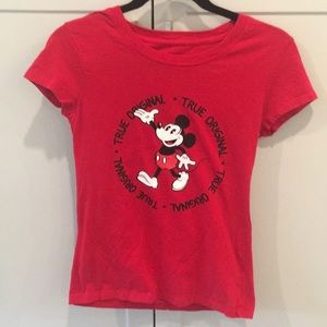 Girl's Original Disney Mickey Mouse Tee Red (7-9)